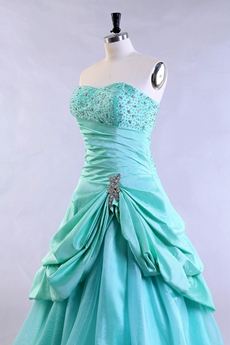 Cute Dipped Neckline Puffy Tiffany Blue Quinceanera Dress