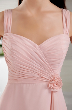 Noble Straps A-line Knee Length Pink Bridesmaid Dress
