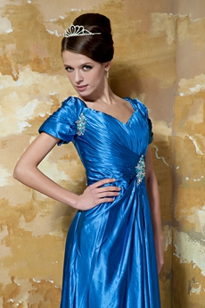 Short Sleeves Column Full Length Turquoise Mother Of The Bride Dress