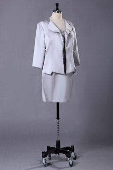 Short Length Silver Mother Of The Bride Dress With Long Sleeve Jacket