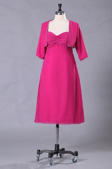 Sweetheart Fuchsia Chiffon Mother Of The Bride Dress Tea Length