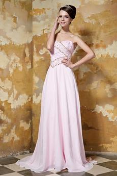 Column Floor Length Pearl Pink Chiffon Prom Dress With Beaded Bodice