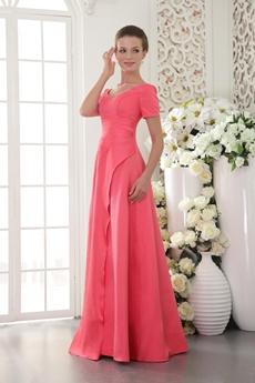 Short Sleeves A-line Watermelon Satin Prom Dress