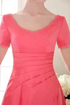 Short Sleeves A-line Watermelon Satin Prom Dress