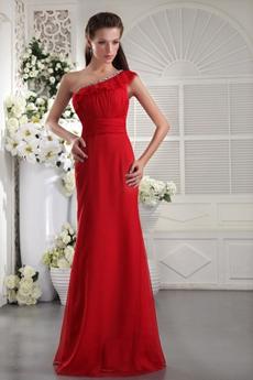 Impressive One Shoulder Sheath Full Length Red Formal Evening Gown