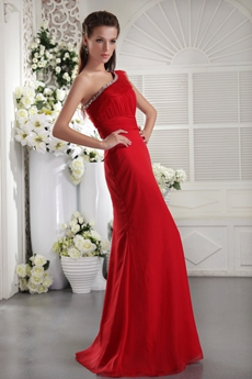 Impressive One Shoulder Sheath Full Length Red Formal Evening Gown