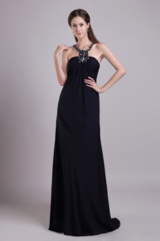 Column Full Length Navy Blue Chiffon Evening Dress
