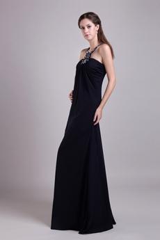 Column Full Length Navy Blue Chiffon Evening Dress