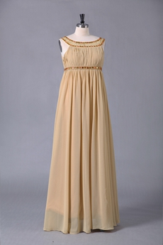 Empire Scoop Neckline Empire Champagne Chiffon PROM Dress