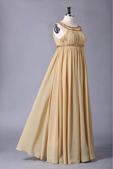 Empire Scoop Neckline Empire Champagne Chiffon PROM Dress