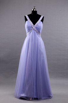 Plunge Neckline Empire Full Length Lavender Tulle Prom Dress