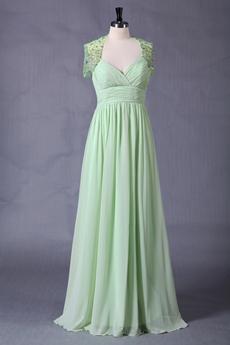 Beautiful Sage Chiffon Prom Dress With Diamonds