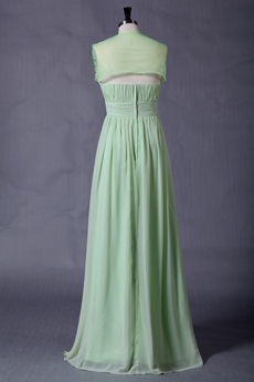 Beautiful Sage Chiffon Prom Dress With Diamonds