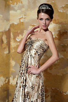 Bohemian Sweetheart Empire Full Length Leopard Evening Maxi Dress