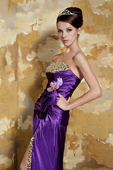 Front Slit Dipped Neckline A-line Full Length Eggplant Prom Dress