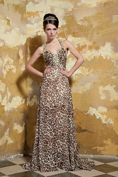 Sexy Straps A-line Leopard Chiffon Maxi Evening Gown