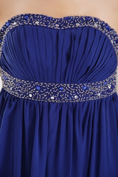 Open Back Column Full Length Royal Blue Chiffon Prom Dress
