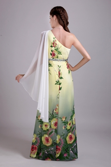 One Shoulder Column Full Length Printed Chiffon Prom Dress