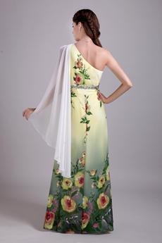 One Shoulder Column Full Length Printed Chiffon Prom Dress