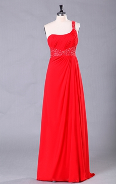 Column Floor Length Red Chiffon One Shoulder Evening Dress