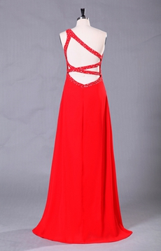 Column Floor Length Red Chiffon One Shoulder Evening Dress