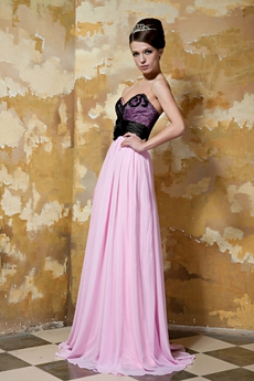 Column Full Length Black And Pink Formal Evening Gown With Shawl