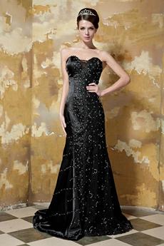 Graceful Sweetheart Full Length Black Trumpet/Mermaid Prom Dress With Handwork