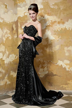 Graceful Sweetheart Full Length Black Trumpet/Mermaid Prom Dress With Handwork