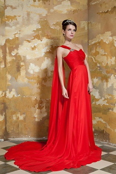 Delicate Single Straps Column Full Length Red Chiffon Prom Dress With Ribbon