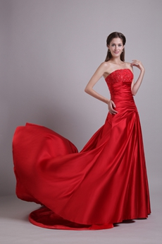 Simple Strapless A-line Red Satin Prom Dress With Lace Appliques