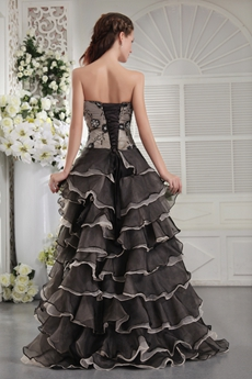Silver And Black Organza High Low Hem Embroidery Quinceanera Gown