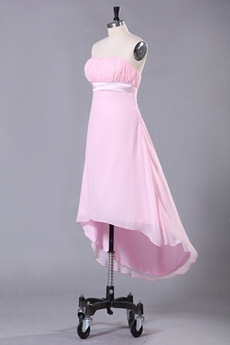 Strapless High Low Hem Pink Chiffon Prom Dress
