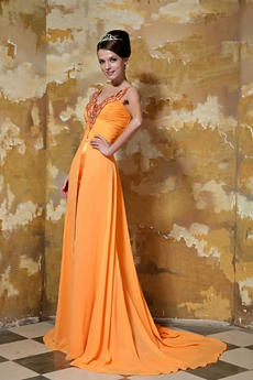 Plunge Neckline Orange Chiffon Formal Evening Dress With Shawl