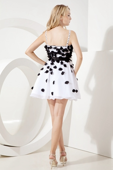 Spaghetti Straps A-line Mini Length Black And White Damas Dress