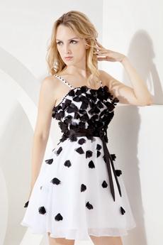 Spaghetti Straps A-line Mini Length Black And White Damas Dress