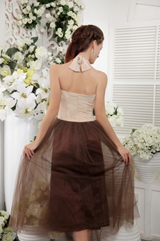 Halter Champagne And Brown Column Tea length Prom Dress
