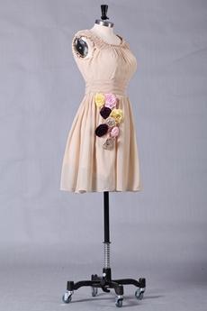Short Length Scoop Neckline Champagne Homecoming Dress