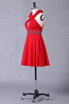 Mini Length Halter Red Chiffon Graduation Dress Open Back