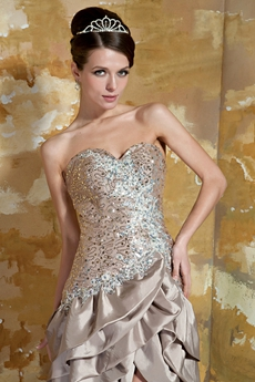 Luxury Sweetheart Champagne Taffeta High Low Prom Dress With Great Handwork