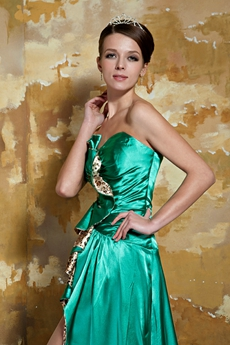 Sweetheart A-line High Low Hem Green Prom Dress With Leopard
