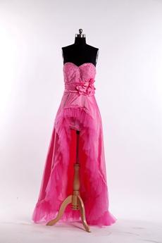 Pretty Fuchsia Sweet 16 Dress With High Low Hem