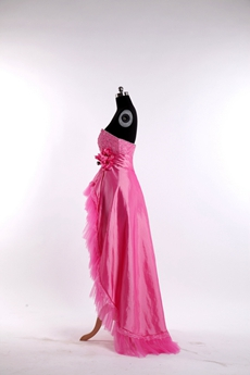 Pretty Fuchsia Sweet 16 Dress With High Low Hem
