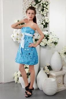 Dipped Neckline Mini Length Sky Blue Lattern Damas Dress
