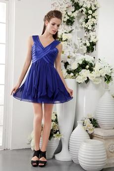 Cute V-Neckline Mini Length Royal Blue Chiffon Graduation Dress