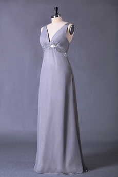 Plunge Neckline Column Floor Length Grey Chiffon Evening Dress