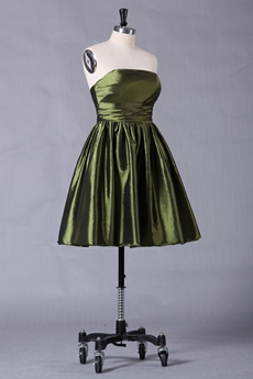 Strapless A-line Mini Length Military Green Homecoming Dress