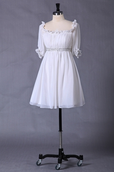 Short Length Half Sleeves Chiffon White Homecoming Dress