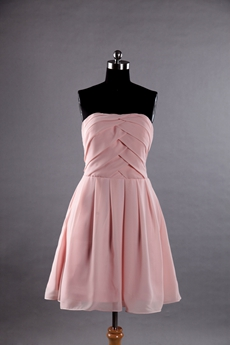 Short Length Dusty Rose Chiffon Homecoming Dress