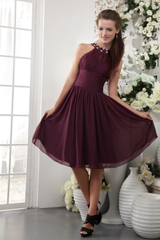 Jewel Neckline A-line Knee Length Grape Chiffon Junior Bridesmaid Gown