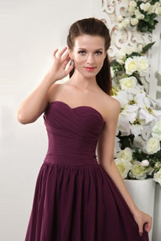 Cheap Sweetheart A-line Tea Length Grape Colored Bridesmaid Dress